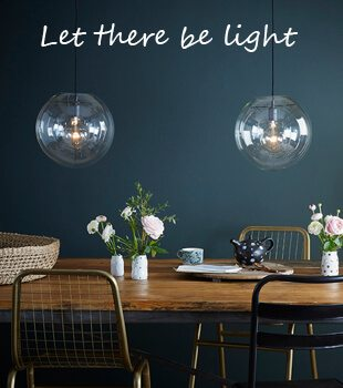Clear Glass Pendant Lights over a kitchen table - Let there be light