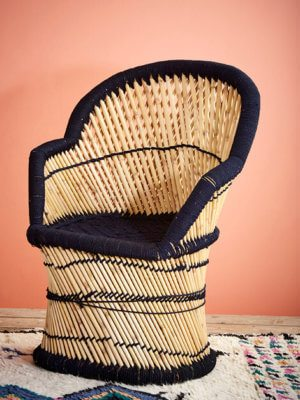 Midnight and Natural Bamboo Chair
