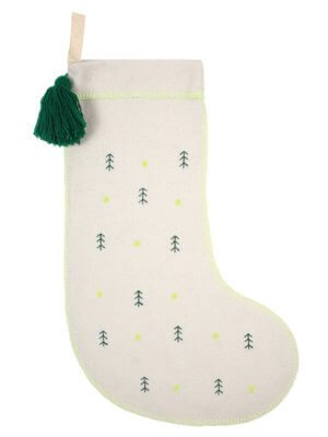 Emboidered Trees Felt Stocking