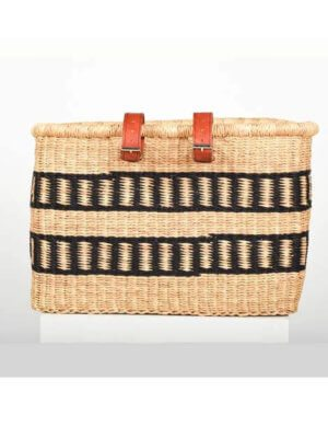 Fante Black and Natural Stripe bicycle basket
